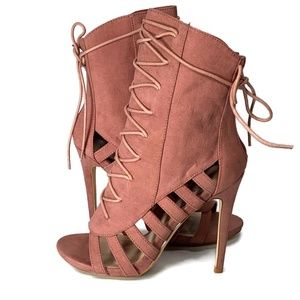 Shoe Dazzle Ayla boots shoes lace up heel pink 8.5